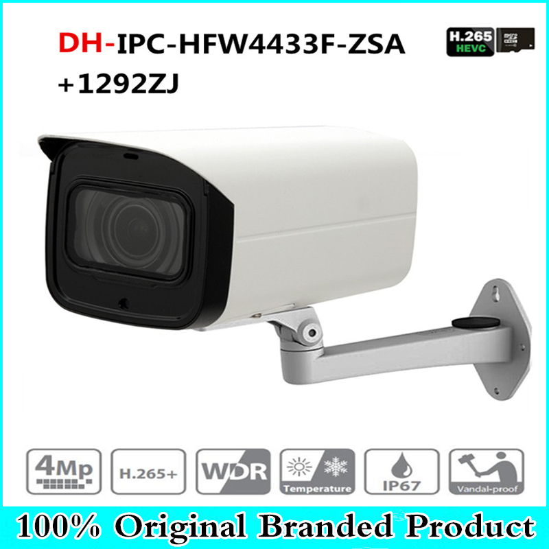 DH IPC-HFW4433F-ZSA 4MP Network IP Camera 2.7-13.5mm VF Lens Bullet 80m IR Micro SD Card Slot Built-in MIC IK10 with dahua logo dahua english vewrsion 4mp wdr network vandalproof bullet ip camera with fixed lens ip67 ipc hfw4421e 3 6mm lens