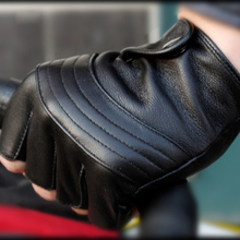 NEW Genuine Leather Semi-Finger Men Gloves Classic Black Half Finger Sheepskin Fashion Trend Driving TB02