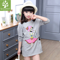 2017 Spring Autumn Girls Long T-shirt Baby Kids O-neck Cartoon Printed Gray Tops Children Clothes Girls Casual Pullover Clothes