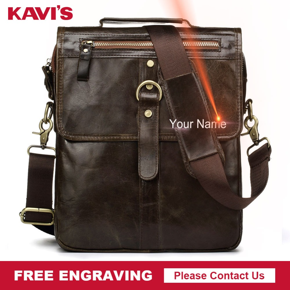KAVIS Free Engraving Genuine Cow Leather Messenger Bag Men s Crossbody Bag Shoulder Chest Handbag for