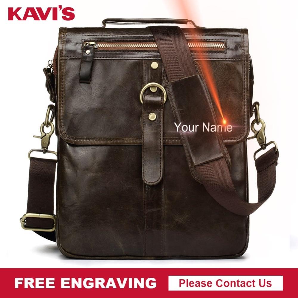 KAVIS Free Engraving Genuine Cow Leather Messenger Bag Men's Crossbody Bag Shoulder Chest Handbag for Tote Clutch Fashion Gift    1