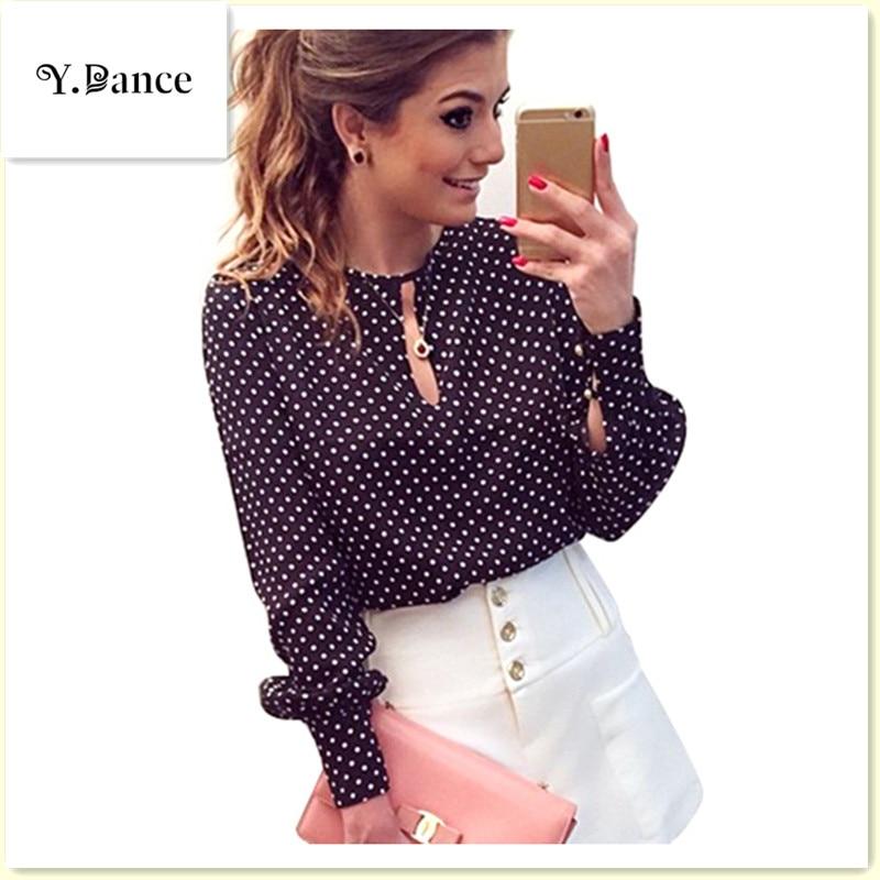 2017 Long Sleeve Slit Open Women Blouse Chiffon Hollow Sexy Casual Shirt Plus Size Women Tops Blusas bluse Polka Dots Shirt