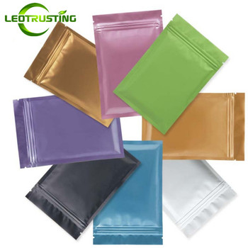 Leotrusting 300 pcs Kleine Kleur Aluminiumfolie Ziplock Zak Platte Bottom Metallic Mylar Zip Verpakking Zak Bruiloft Verjaardagscadeau Tassen