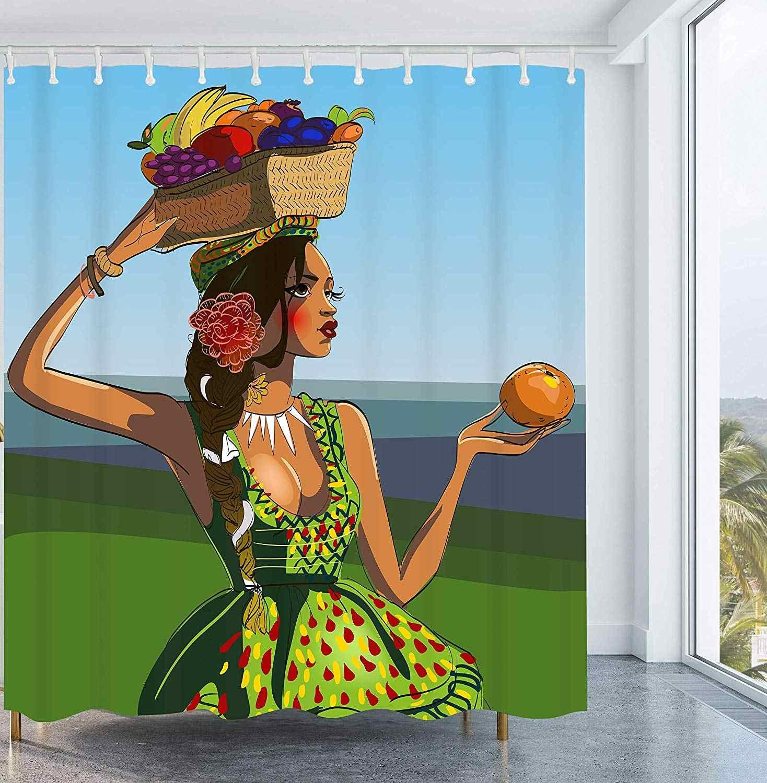 Получить оранжевые красивые женские занавески для душа молодых африканских женщин в зеленом платье с фруктовой корзиной занавески для душа