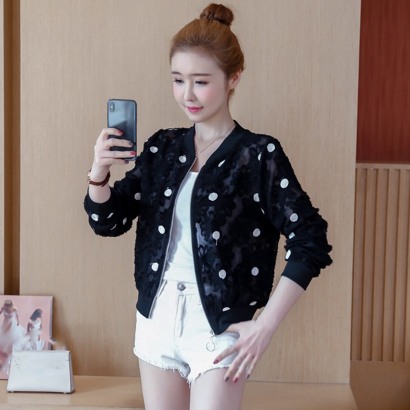 2019 Korean Slim Baseball Short Jacket Summer Casual White Thin Women's Bomber Jacket Polka Dot Dot Sunscreen Cardigan Jacket 35