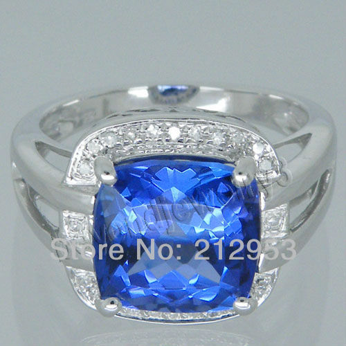 Vintage AAA Genuine Tanzanite Ring Cushion Ring With Natural Diamond In 14Kt White Gold  ...