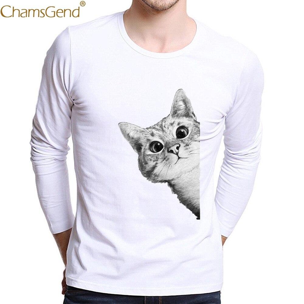 Chamsgend Drop Shipping Men's Casual Hiding Cat Print Cartoon White T-Shirt For Summer Beach Party 80208