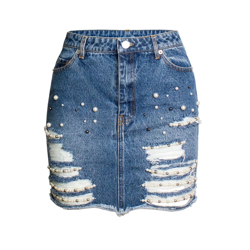 2019 taille haute Denim Shorts grande taille 3XL femme court Jeans pour femmes d'été dames chaud Shorts perle jeans