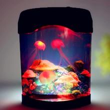 USB LED قنديل البحر حوض السمك مصباح مكتب خزان الأسماك المصغرة ليلة ضوء المزاج اللون ديكور المنزل أباجورة هدايا للأطفال