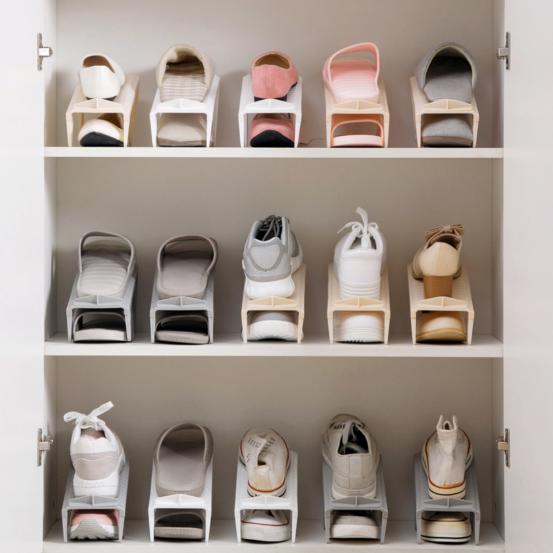 US $0 39  Double deck shoe storage rack at home household plastic simple  holder space saving holder living room shoe storage rack-in Bottles,Jars &