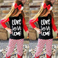 2 Шт. Красное Сердце девушки набор Малышей Новорожденных Девочек Наряды письма с длинным рукавом Футболка + Сердце Брюки Детская Одежда Наряды набор