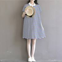 Navy wind Hawaii's female literary fresh blue and white stripe knitting pregnant women and mother dress with short sleeves