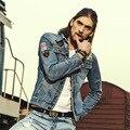 Outono Novo Buraco Soletrar Homens Jaqueta Jeans Calça Jeans Da Moda Retro dos homens Mens Jaqueta Jeans Casaco 116