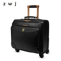 Cow Leather Rolling Luggage Vintage Suitcases Wheel Genuine Leather Travel Duffle Men Carry On Trolley Retro Luggage