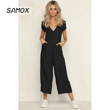 JSMY Summer Sexy V-neck Fashion Casual Button Wide-Leg Straight Jumpsuit