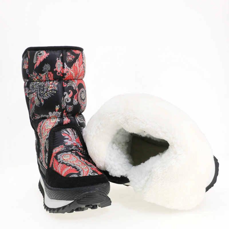 Sıcak ayakkabı kadın 2019 yeni stil tasarım çiçek kış snowboot baskı naylon üst inek süet deri bağlama artı boyutu ücretsiz gemi