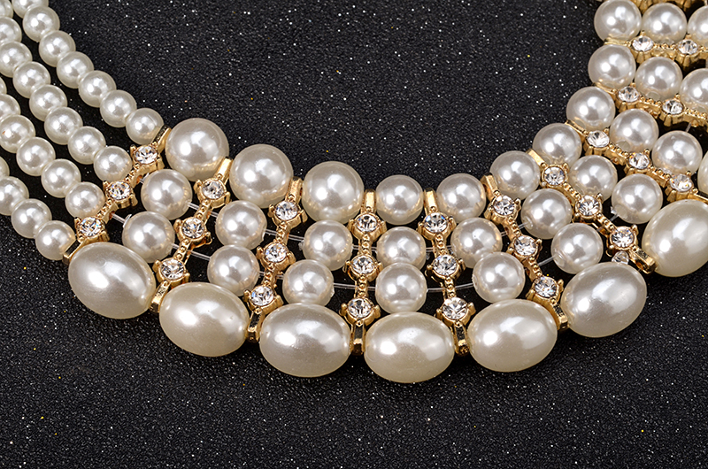 Multi-layer Pearl Necklace and Earrings Set