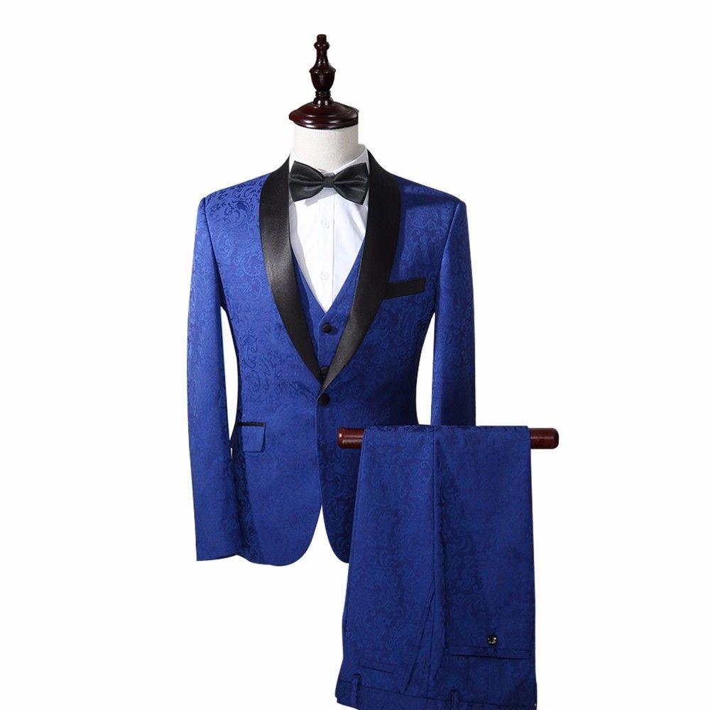 2017 костюм Homme Королевский синий Для мужчин Slim Fit Костюмы Пейсли смокинг свадьбы ужин костюм комплект из 3 предметов самые последние модели бр
