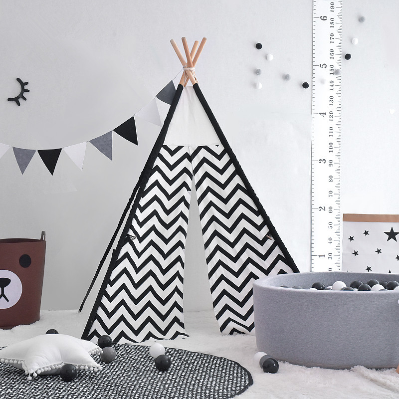 Black and white kids teepee chevron tipi tent yellow chevron pet teepee dog bed house teepee for dogs rabbit teepee