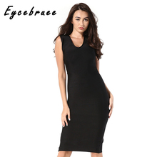 2017 Eycebruee Women Summer Solid Casual Bandage Dress Evening Party V-neck Sleeveless Bodycon Hollow Out Club Celebrity Vestido