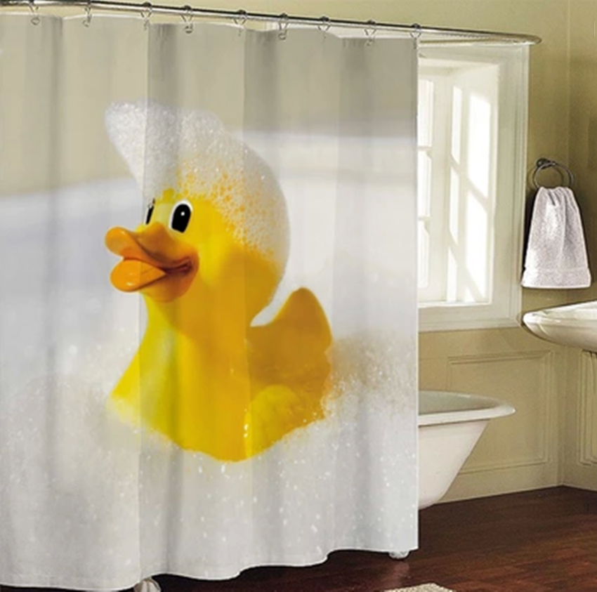 Shower Curtain Big Yellow Rubber Duck Bathroom Products Polyester Bath  Screen Liners 180x180cm Cortina De Bano