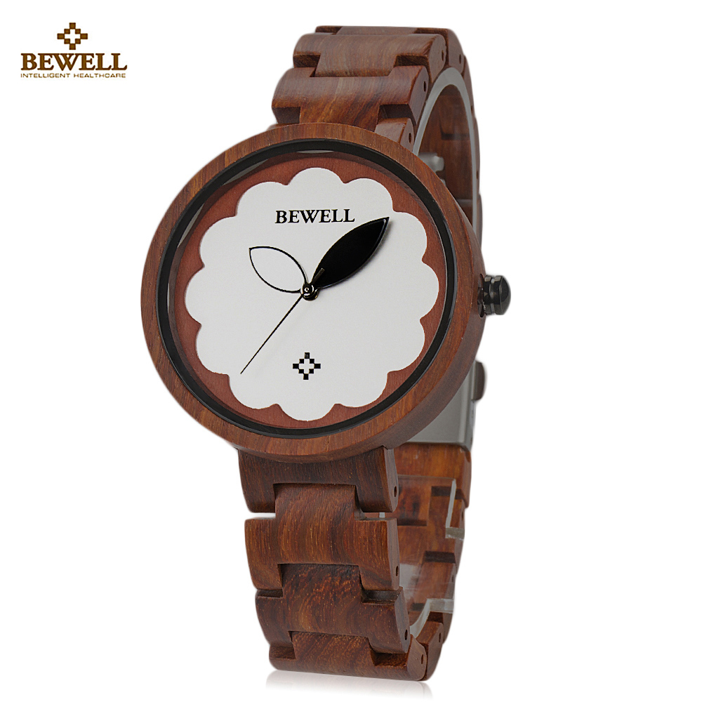 BEWELL ZS - W152A Female Wooden Watch Bloom Dial Leaf Luminous Pointer Natural Wristwatch For Women Relogio Feminino очиститель воздуха timberk taw h4 d w