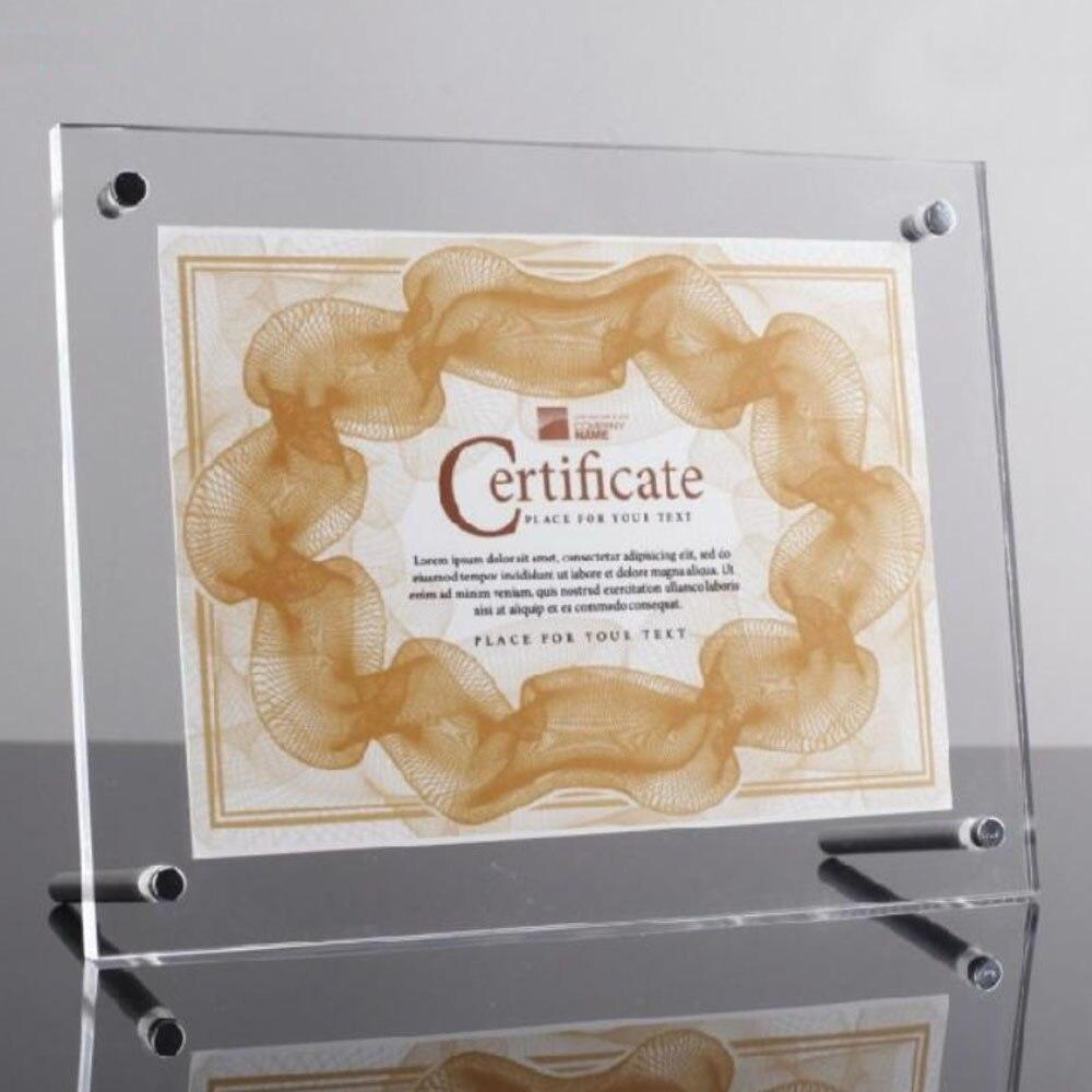 (Paquet/5 unités) support de certificat Perspex transparent à vis A5 pour certificat A5, affiche et panneaux PF002-2