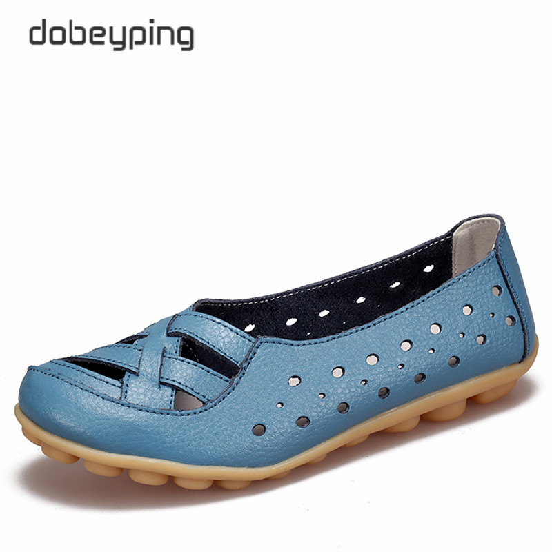 2017 Women's Casual Shoes Genuine Leather Woman Loafers Breathable Summer Shoe Flats with Hollow Out Mother Shoes Big Size 35-44 2017 summer women s casual shoes genuine leather woman flats slip on femal loafers lady boat shoe big size 35 44 in 8 colors