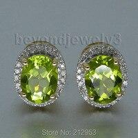 Vintage Earings 14k Gold Diamond Peridot Stud Earrings For Women, Natural Gemstone Earring E0053
