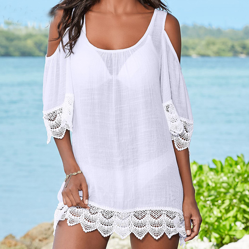 High Quality Beach Cover up Lace Swimsuit cover up Tunic for Beach saida de Praia Bikini Cover up Pareos Bathing suit cover up