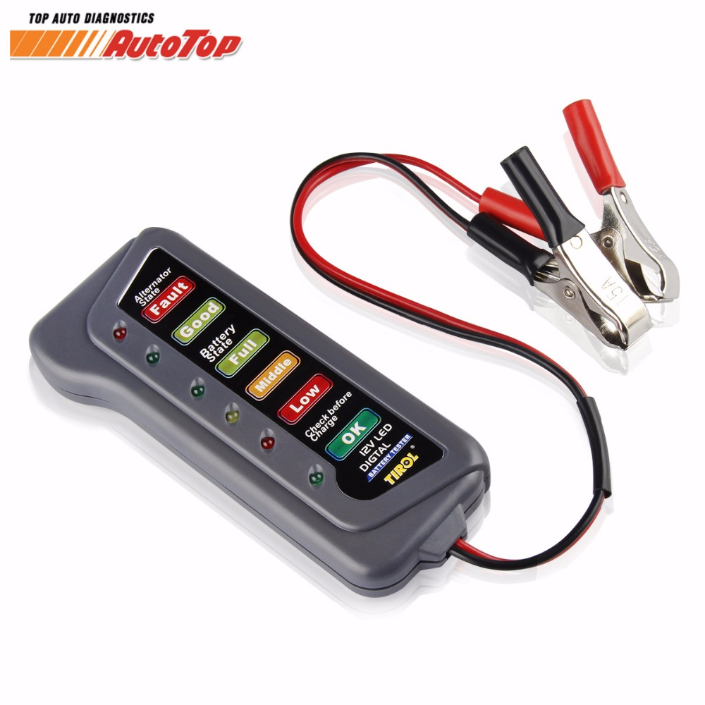 newest alternator tester test battery check car battery condition alternator charging 6 led. Black Bedroom Furniture Sets. Home Design Ideas