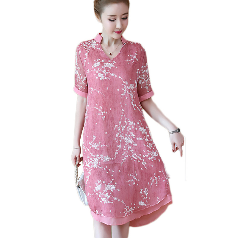 2018 plus size 5xl Fashion women summer Long print dress v neck short sleeve femal party dress YP1042