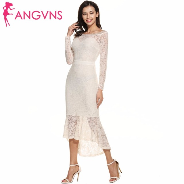 Lange jurk wit kant