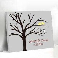 Love Birds Standing on the Fingerprint Tree Canvas Guest Book Custom Wedding Birthday Graduation Party Supplies Signature Book