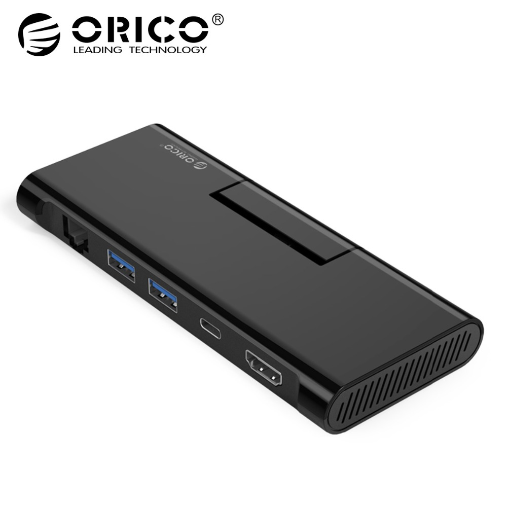все цены на ORICO USB HUB USB C to HDMI RJ45 PD Adapter with Phone Holder for MacBook Samsung Galaxy S9/S8 Huawei P20 Pro Type-C USB 3.0 HUB онлайн
