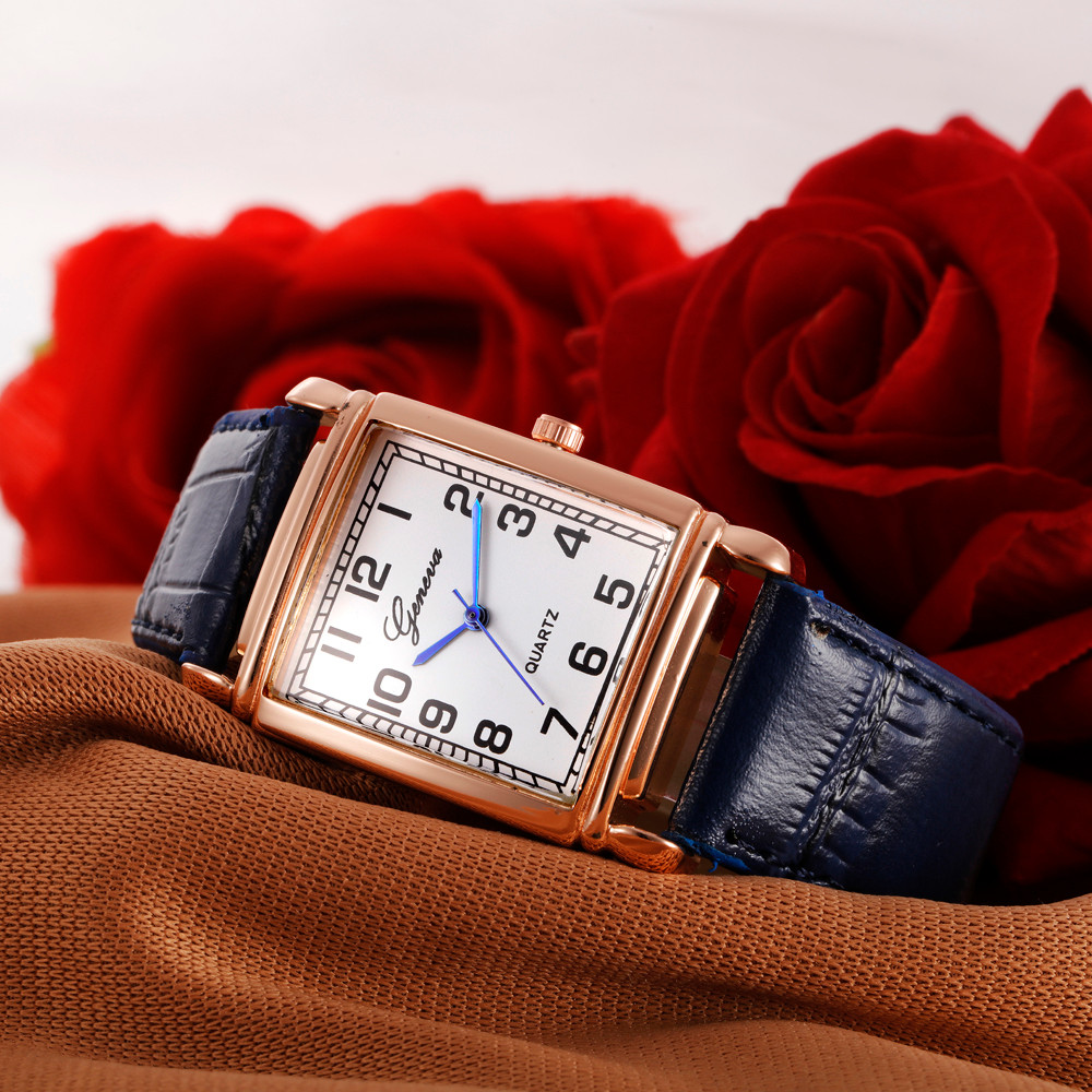 Women Casual Checkers Faux Leather Quartz Analog Wrist Watch Clock Uhren Relojes Mujer Metal Montre Femme#77 faux leather quartz wrist watch