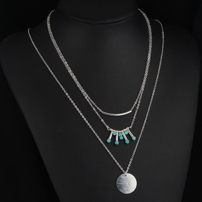 っ10 шт. лот круглый кулон Цепочки и ожерелья многослойная ключицы ... 7e5158e0755