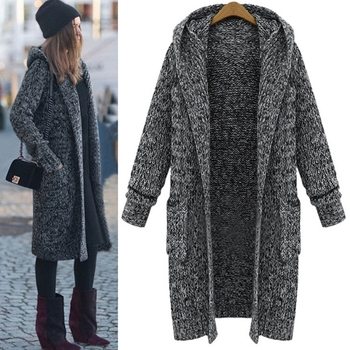 LISYRHJH 2018 ladies new large size winter sweater coat casual loose super long hooded thick knit cardigan jacket