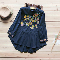 New Spring Autumn Casual Sweet Shirt Women S Stand Collar Long Sleeve Floral Embroidery Female Vestido