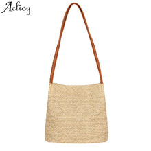 80b3601787c0 (Ship from US) Aelicy Fashion Straw Bags Women Summer Rattan Shoulder Bag  Handmade Woven Bucket Beach Cross Body Bag Bohemia Handbag