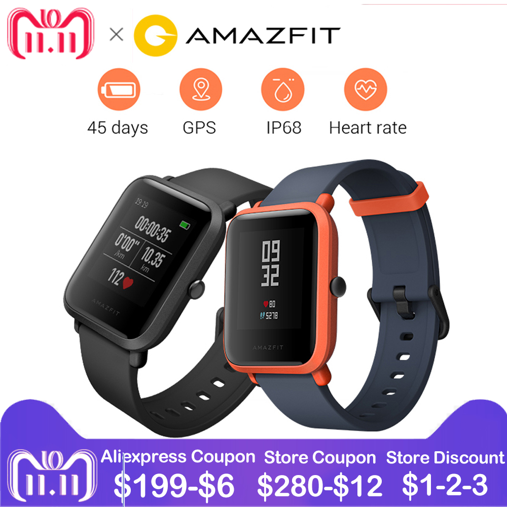 RU Stock English Huami Amazfit Bip Smart Watch GPS Gloness Smartwatch Smart Watchs 45 Days Standby for Xiaomi Phone MI5 IOS