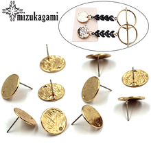 6pcs/lot Zinc Alloy Stud Earrings Golden Flat Round Base Earrings Connectors For DIY Earrings Jewelry Making Finding Accessories