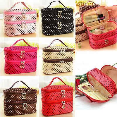 Женская многофункциональная косметичка, двойная настольная сумка в горошек, косметичка, органайзер для путешествий, туалетный на молнии