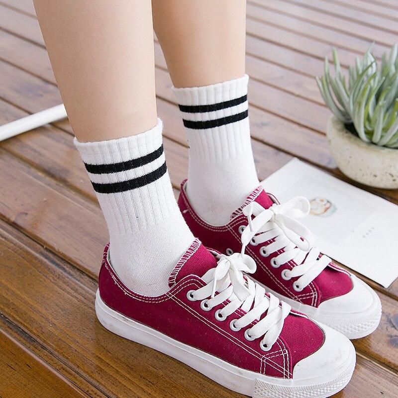 Fashion New Womens Socks Old School Style Girls Meias Two Stripe