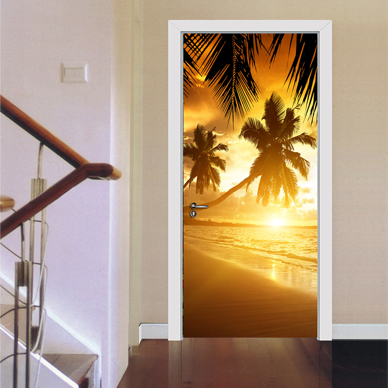 Palm Tree Sunrise Beach Landscape 3D PVC Waterproof Door Sticker Home Decor Living Room Bedroom Poster Wall Paper Self-adhesive self adhesive waterproof pvc wallpapers roll morden wall paper bedroom living room furniture renovation sticker home decor