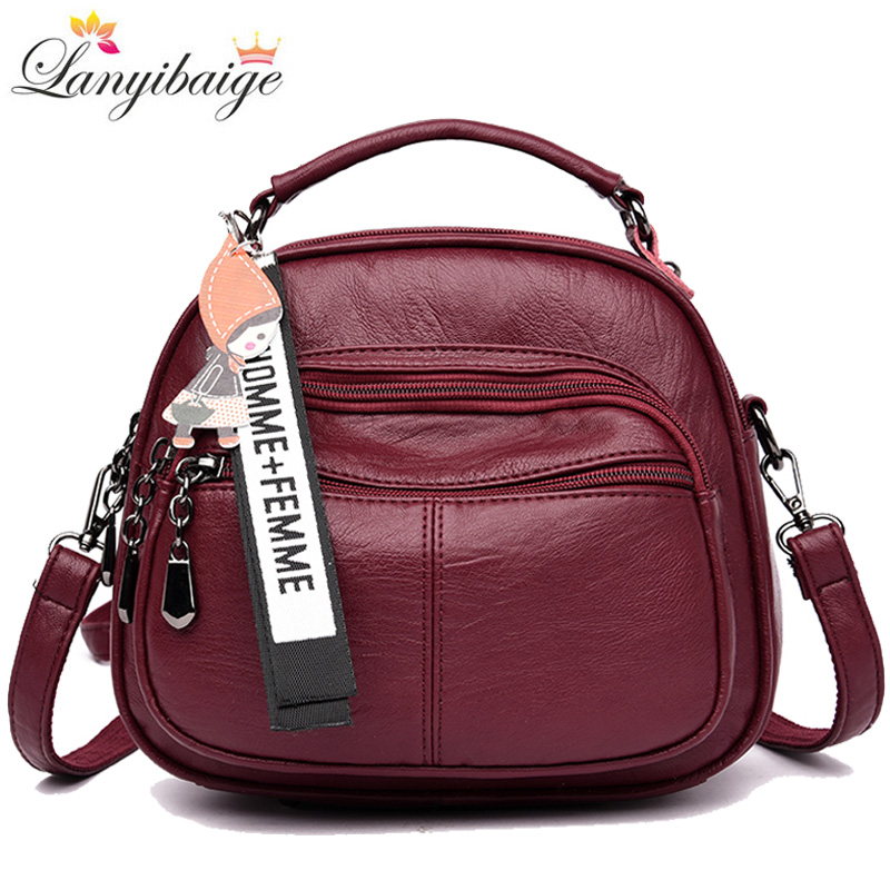 3-in-1 Women Leather Backpack Famous Brand Fashion Shoulder Bags For Women Travel Backpack Women's Backpack For 2019 New Mochila