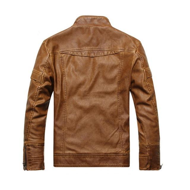 Fashion Male PU Leather Jacket Men Long Sleeve Zipper Couro Casual Solid Chaqueta Moto Hombre Slim Autumn Jacket