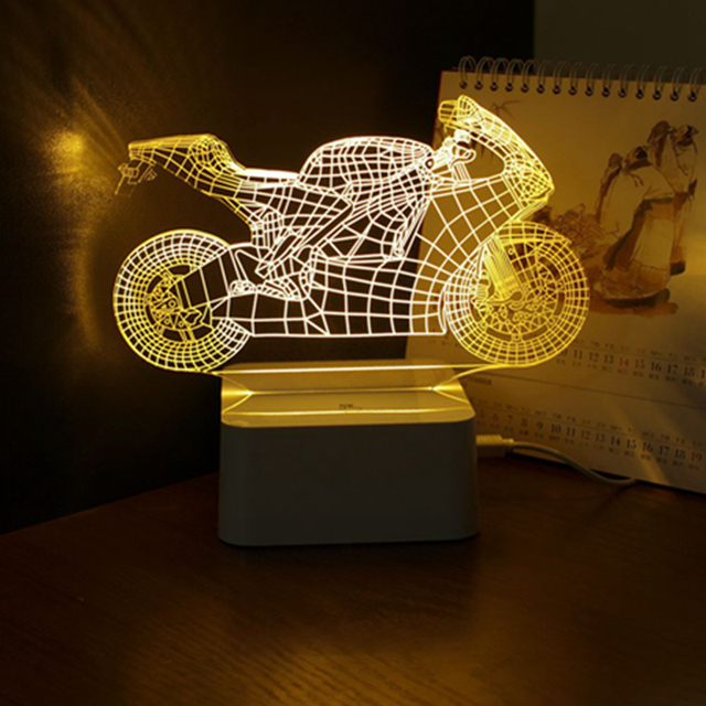 3D Мотоцикл Настольная Лампа Ночник Сенсорный Выключатель Спальня Night Light Затемнения Art Deco Crystal LED Дети Спальня Сна Свет