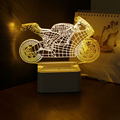 3D Motorcycle Table Lamp NightLight Touch Switch Bedroom Night Light Dimmable Art Deco Crystal LED Children Bedroom Sleep Light