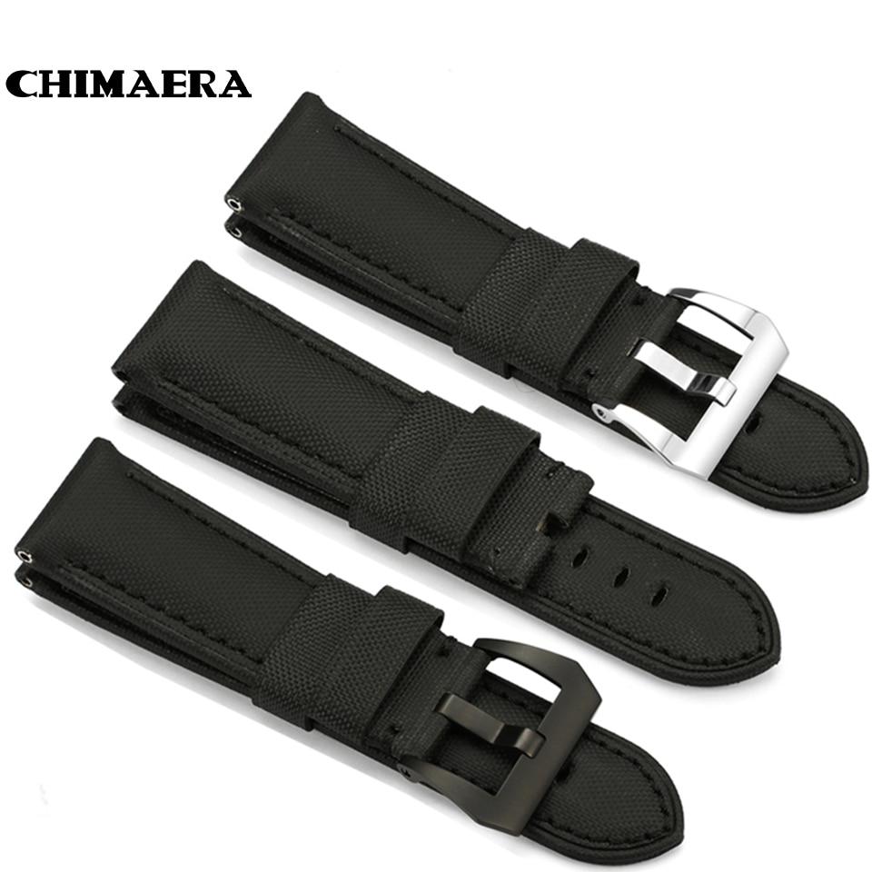 Black Kevlar Leather Watch Band 24mm